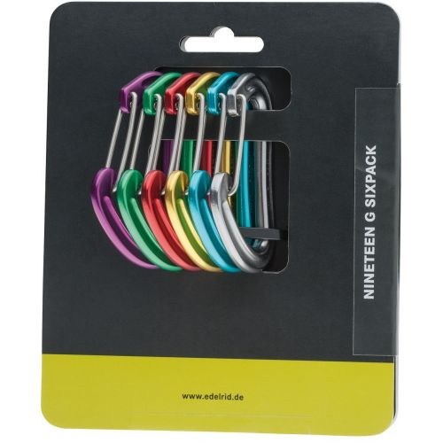 Carabiner Nineteen G Sixpack Assorted Colours