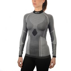 Shirt Woman Long Sleeves Mock Neck Shirt Silver Skin